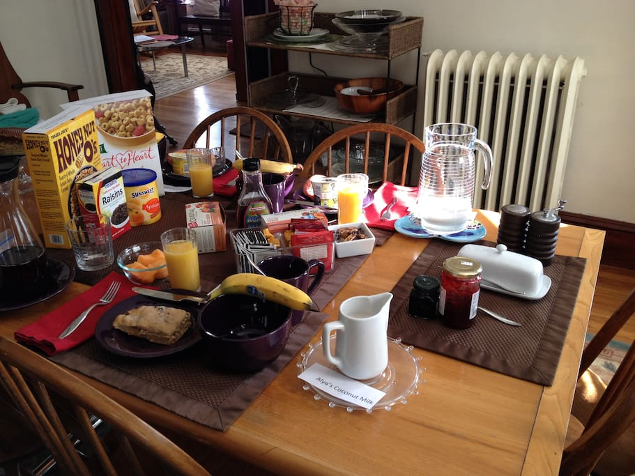 Enjoy a fabulous continental breakfast featuring home made scones or muffins, fresh fruit, cereal, hard boiled egg, and a hot beverage - Yum!  What a great way to start the day!!