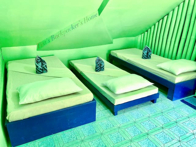Family Room for 6 pax (Green) with 1 Double Bed and 4 Single Beds