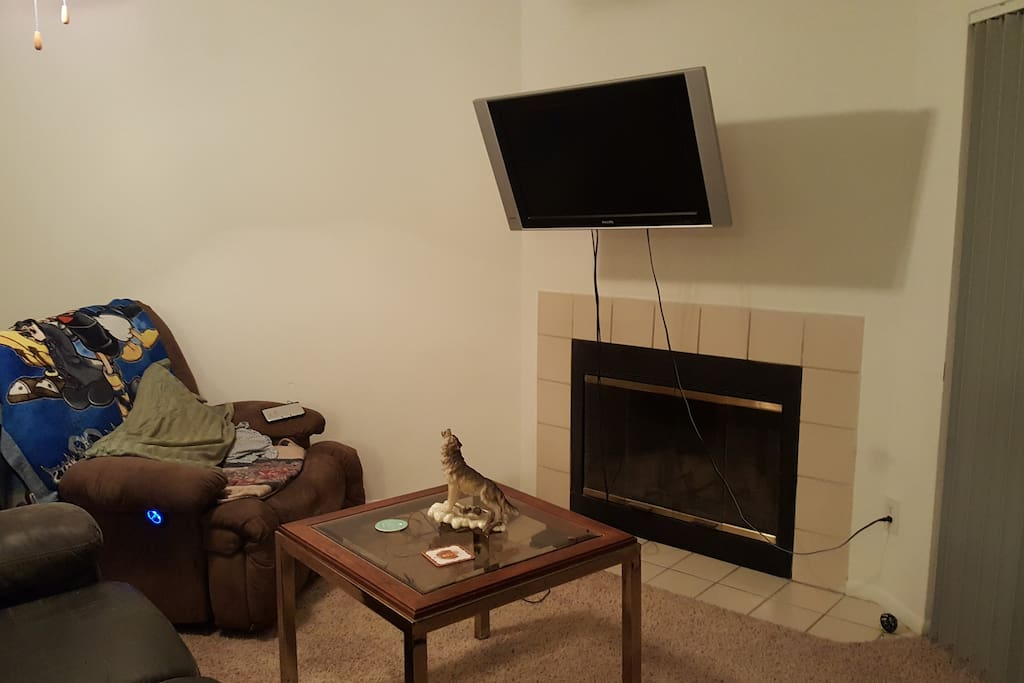 Living area with television and PS4