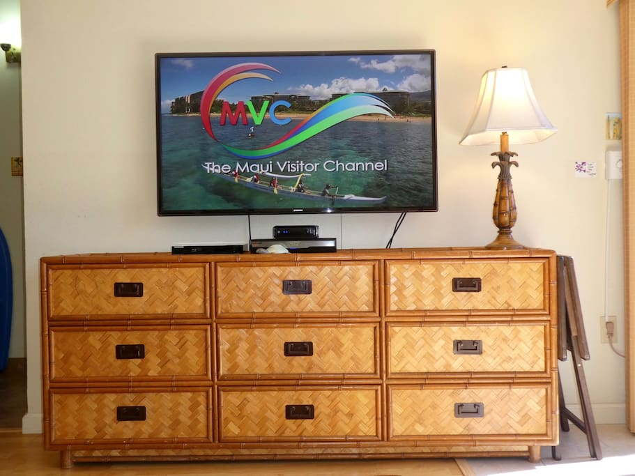 50 inch TV with cable including HOB and Showtime, DVD player