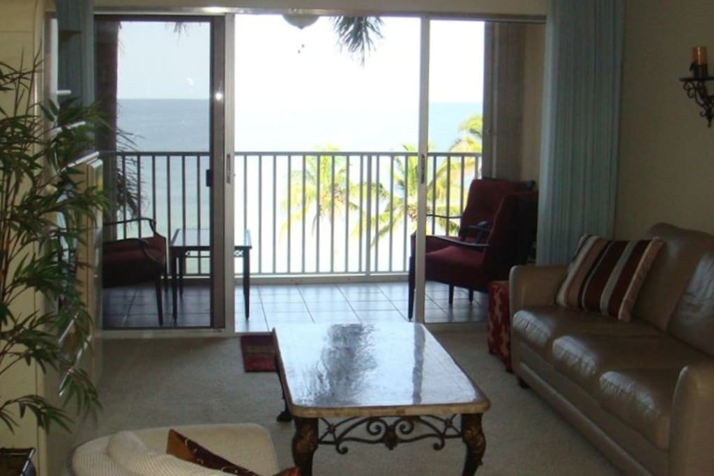 Contemporary Furnished Living Room with Flatscreen TV Looks onto the Gulf!