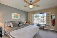 The master bedroom features a king-sized bed, perfect for sprawling out.