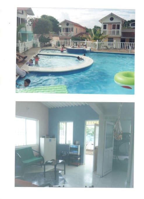 Psicina y sala ( pool and living)