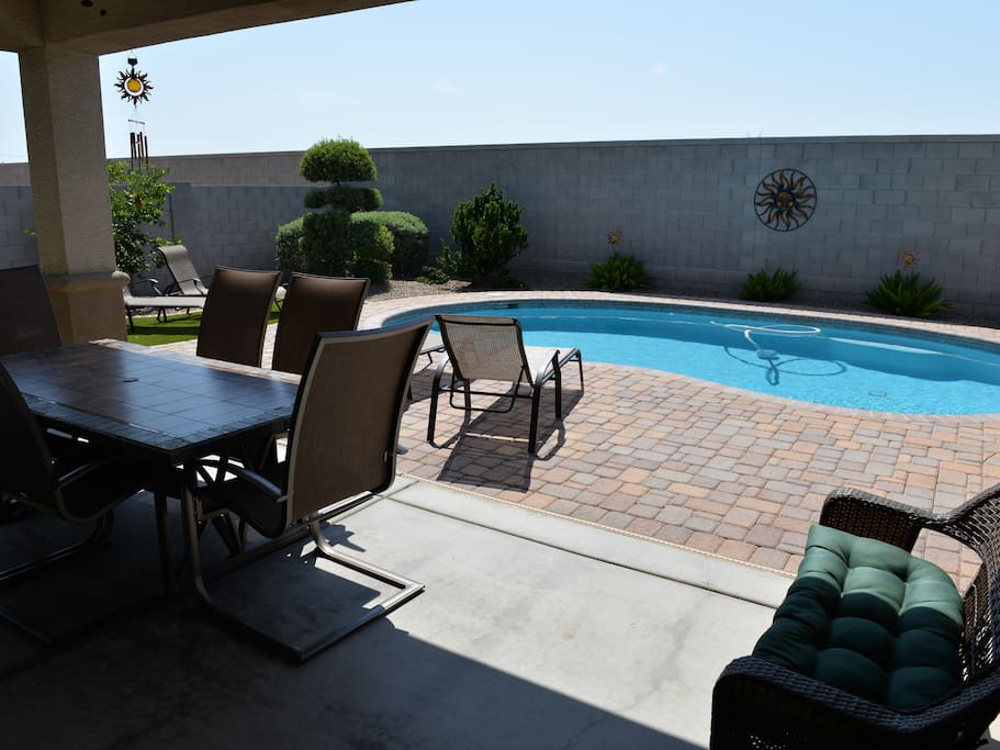 Back patio and swimming pool