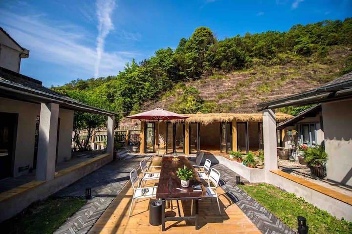 雁荡山羊舍客栈|山谷中的小四合院|5个房间|度假、小型聚会的好地方|星空卫生间|恒温水床|