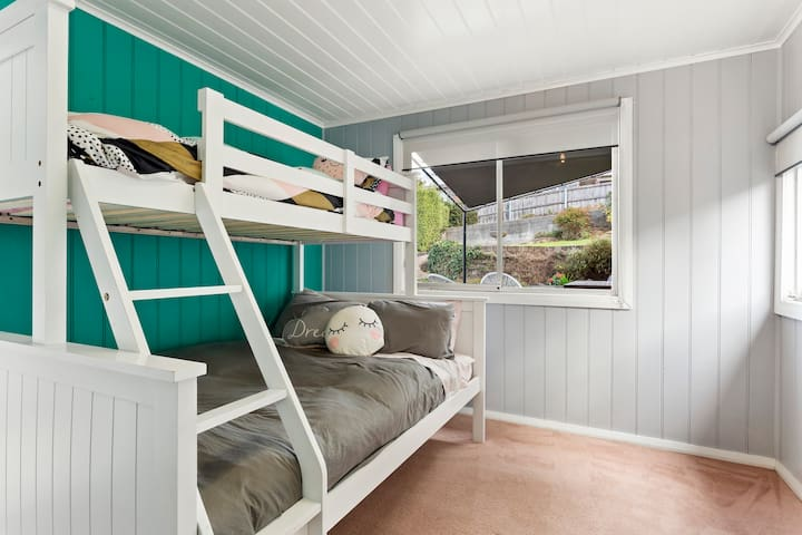 Bedroom 4 -Bunk beds Double, single (top bunk) and trundle.
