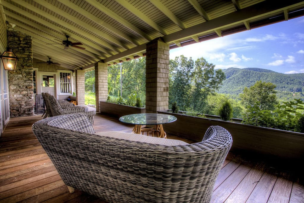 Large front porch with long range views of the mountains, the Town of Hot Springs and the French Broad RIver.