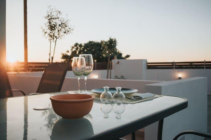 2 bedroom villa, 400m from beach, 10min. from city