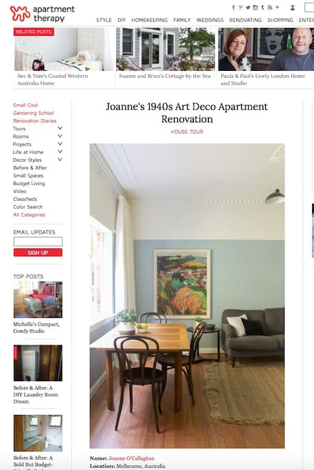 Renovation featured in Apartment Therapy, a highly popular design blog.