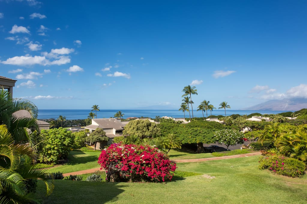 Looking out to the ocean, west Maui mountains, and year-round sunsets!