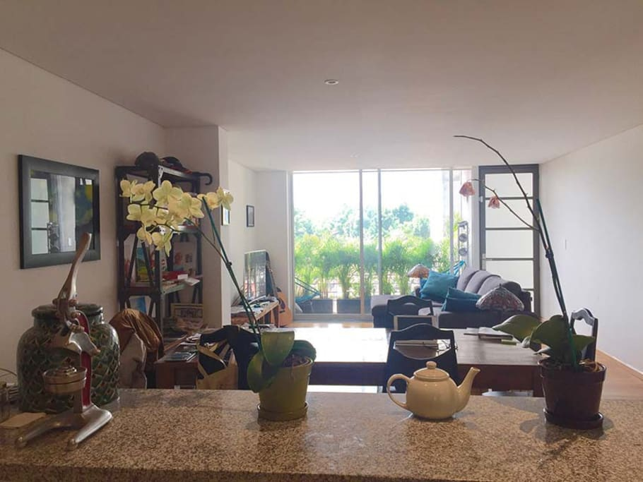 The spacious living room as seen from the open kitchen.
