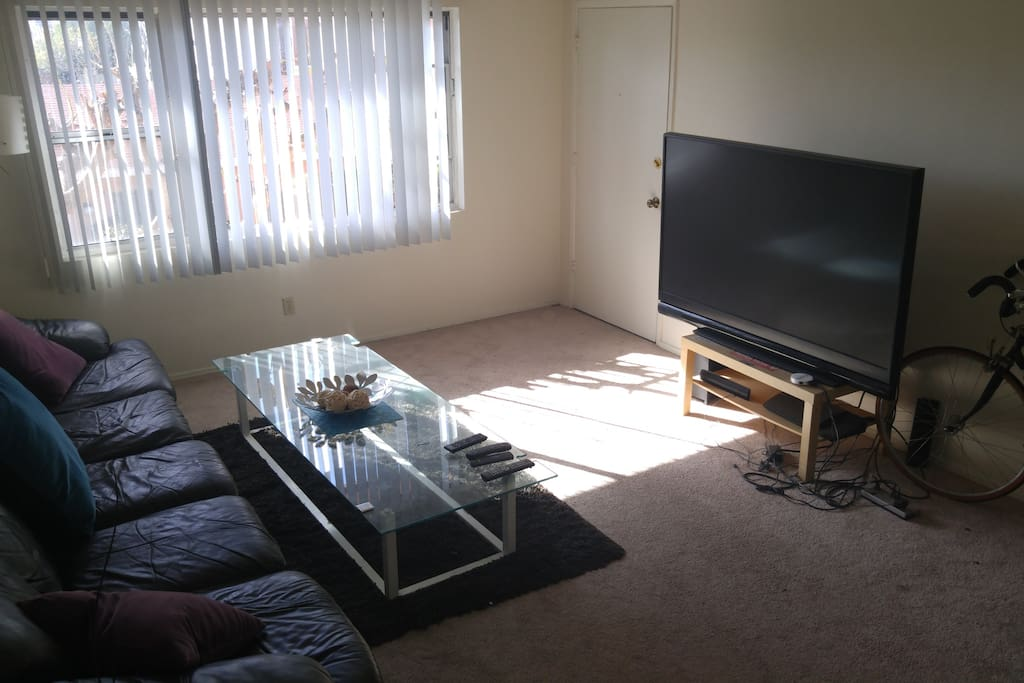 Large couch with functioning large TV