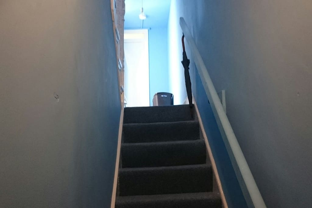 there's a flight of stairs once you enter