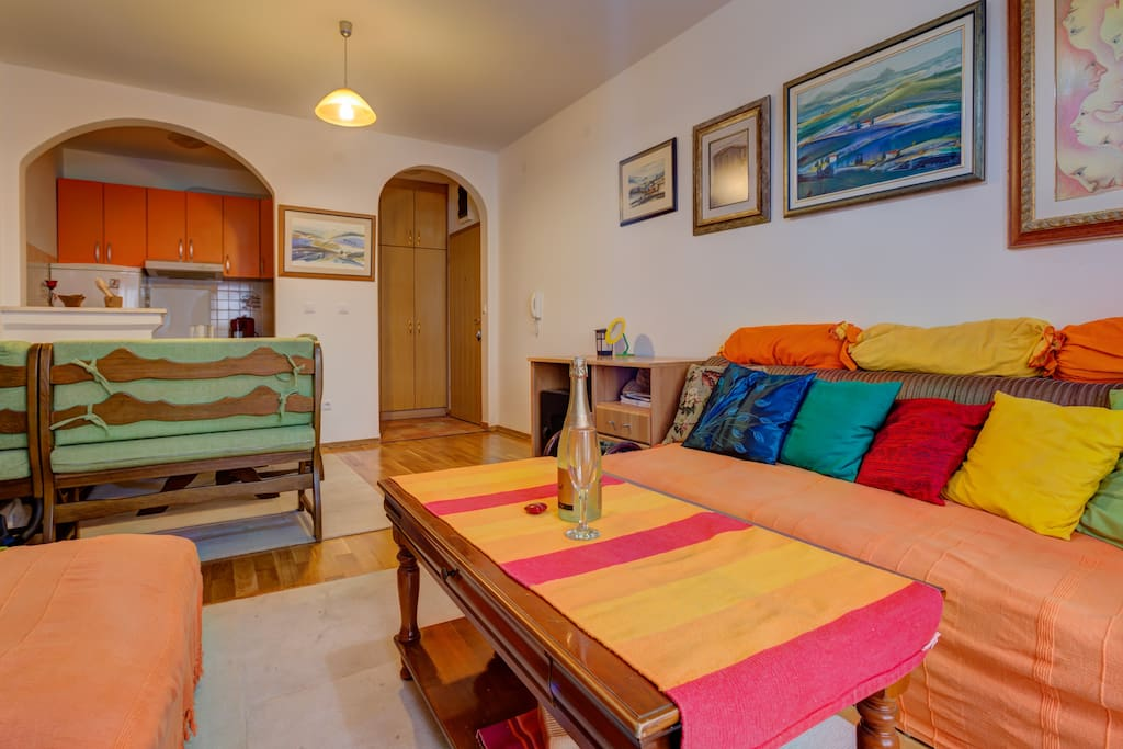 A total of 60 m2 offer two bedrooms, living room, private bathroom & a balcony with sunbeds and table tennis. The apartment is fully equipped & suitable for families or smaller groups of friends.