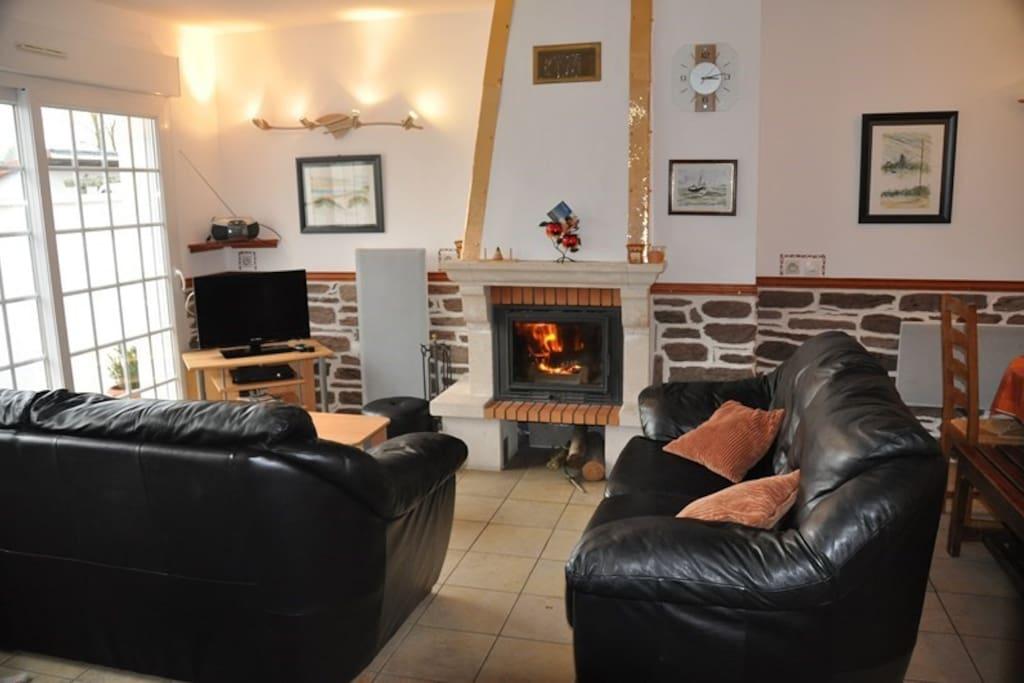espace salon avec cheminée de feu de bois