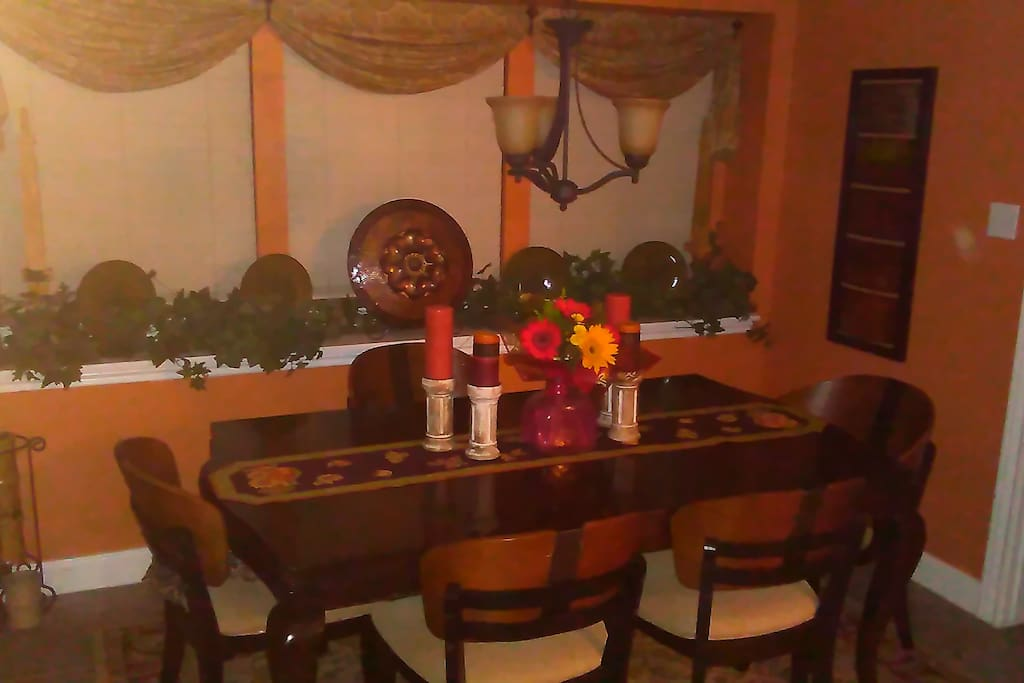 One of three dining areas