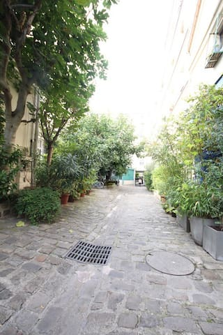 Here is the beautiful courtyard , very calm, with lots of trees and vegetation's.