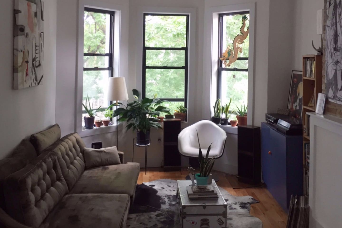Bright living room with many happy plants and cozy seating