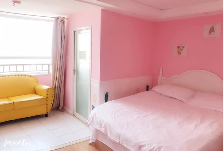 粉色浪漫大床房高铁站附近