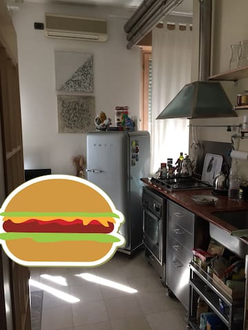 This is a pro kitchen just in case you feel like a chef ... instead of eating hamburgers downstairs