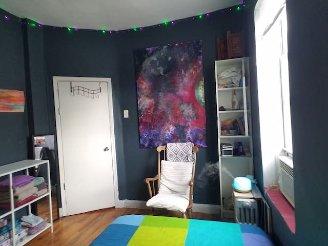 Airbnb bedroom with space to unpack. (Bed #1)
