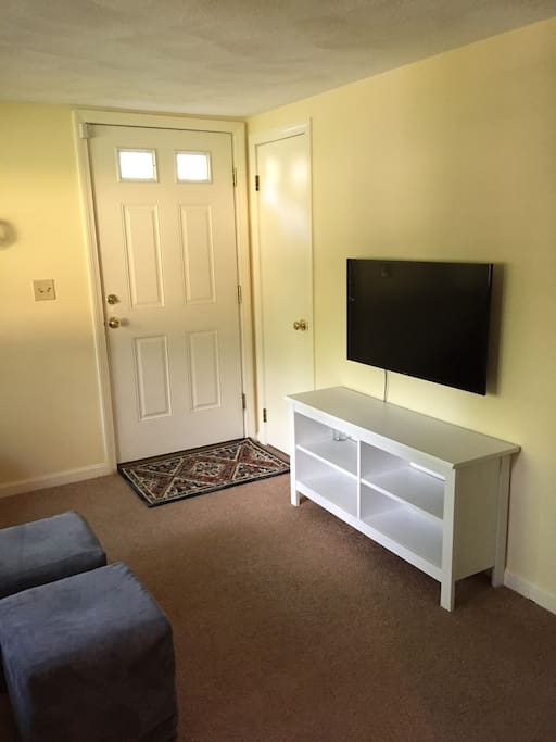 "Living room with 36"" Smart TV"