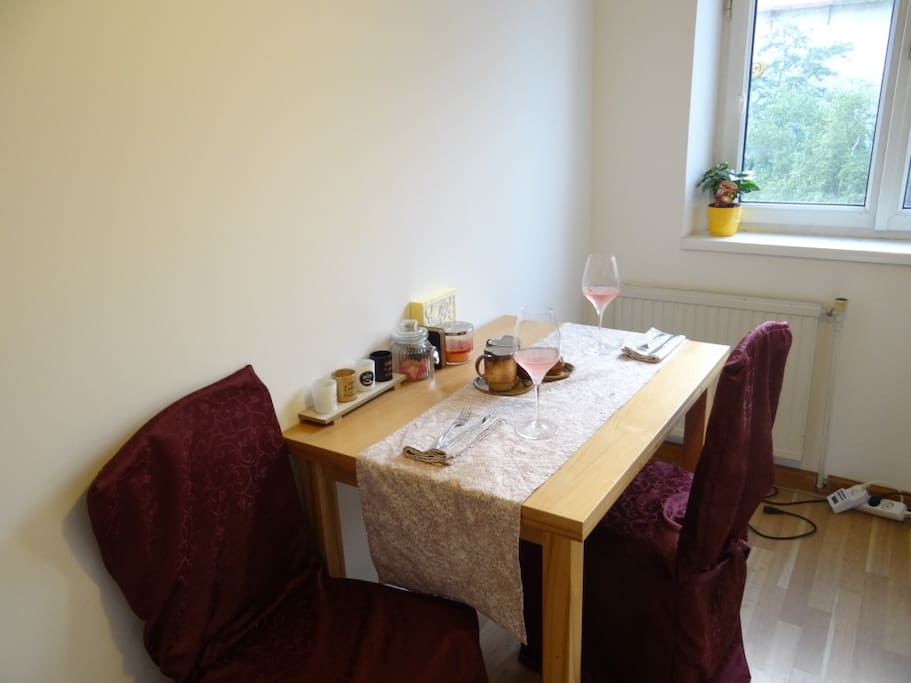 Enjoy a glass of Rosé in the little lovely kitchen