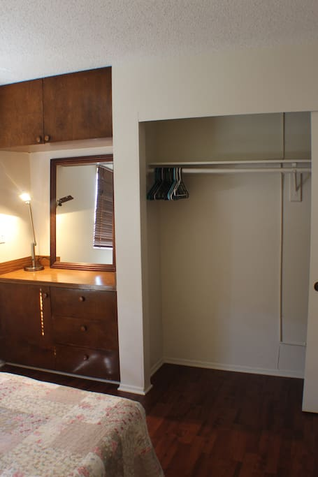 Ample storage space in the closet.