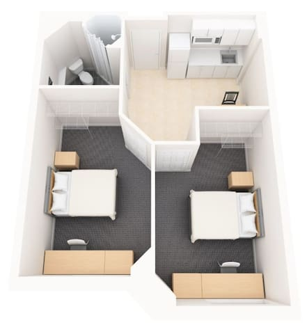 Affordable Apartment Style Two Bedroom Suite