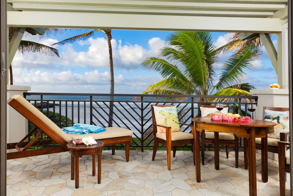 Panoramic ocean view lanai with dining table, 4 chairs and chaise lounge!