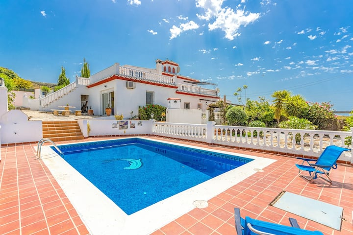 New listing! Stunning Spanish villa w/ private pool, mountain views, & terraces!