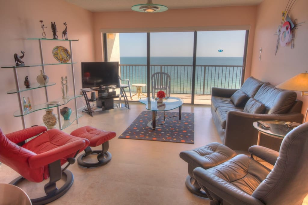 Living Room with a view of the Gulf of Mexico