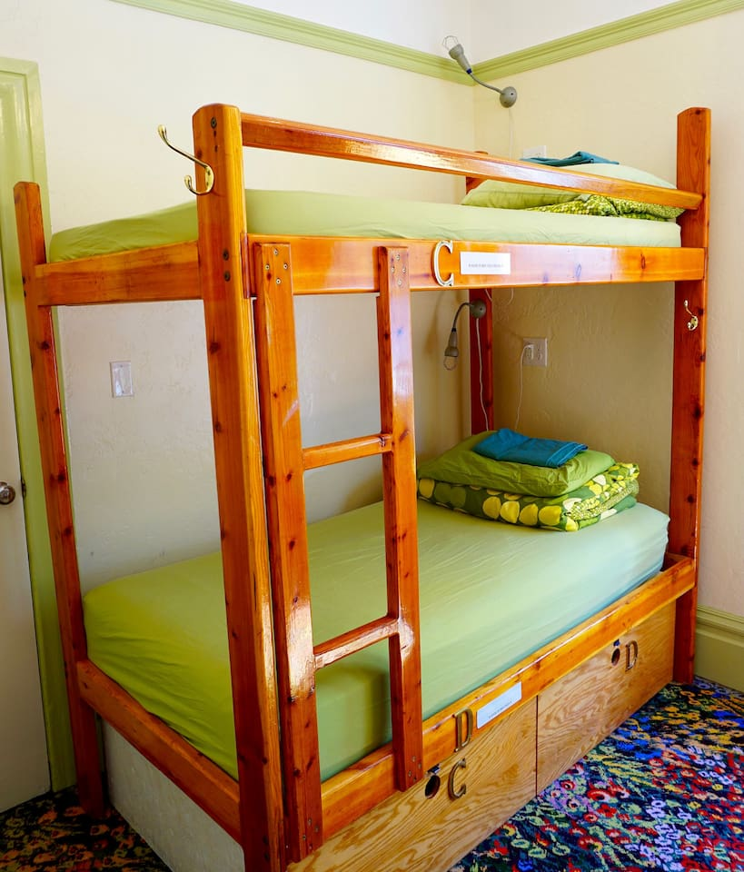 Each room has two single beds bunk bed style