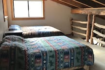 King and full size bed in loft
