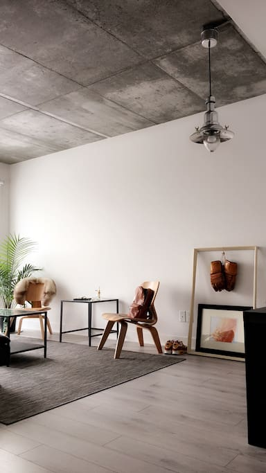 High ceilings with industrial / minimalistic design
