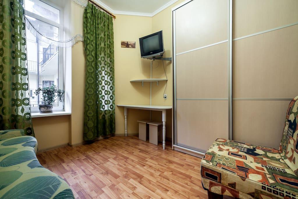 Двуспальный раскладной диван, раскладное кресло, шкаф-купе, ТВ
