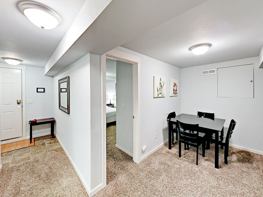 This recently renovated property is in the basement of a Victorian-style home.