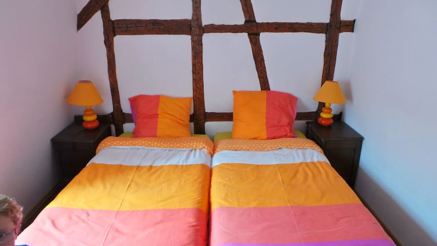 Second bedroom with two 90cm wide beds