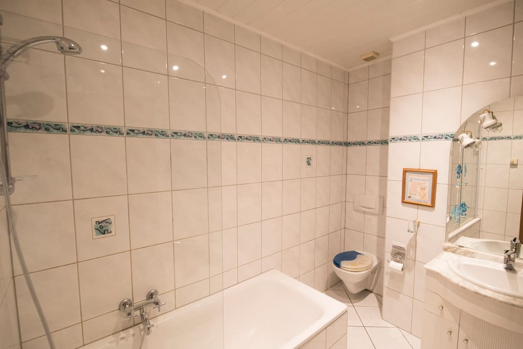 Bathroom with shower (fully tiled)