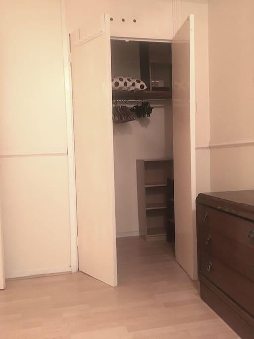 walk in wardrobe inside the room