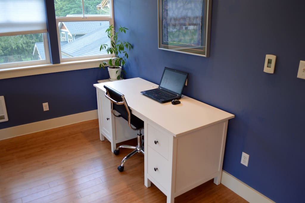 convenient desk in main living space; wifi included
