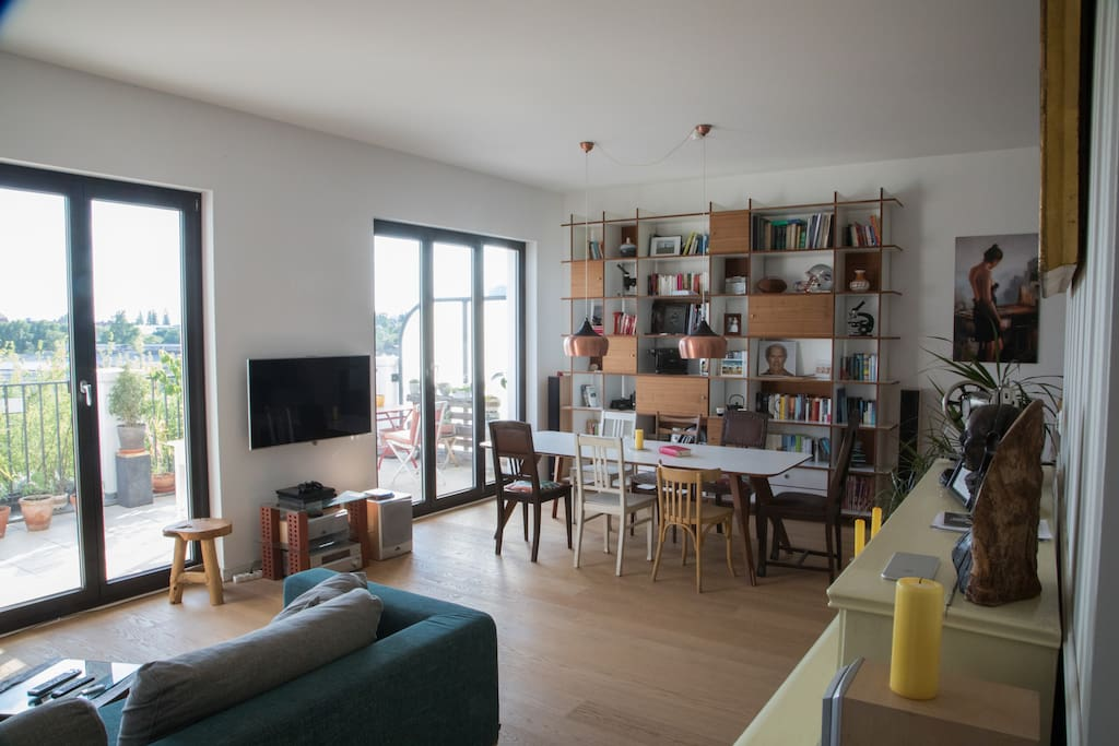 the living room and a balcony with a great view across Berlin