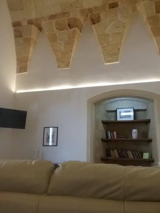 Zona divano con televisore schermo piatto è piccola libreria.