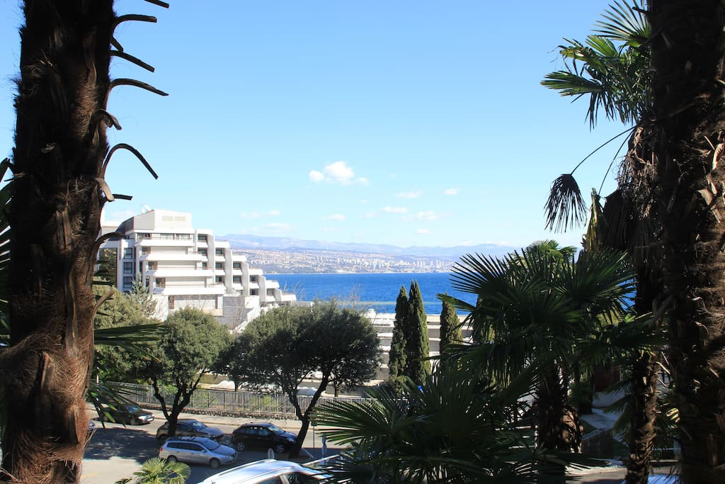 View of the sea and Rijeka town in the distance