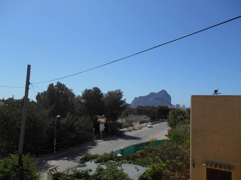 Roof top view to landmark Calpe Rock