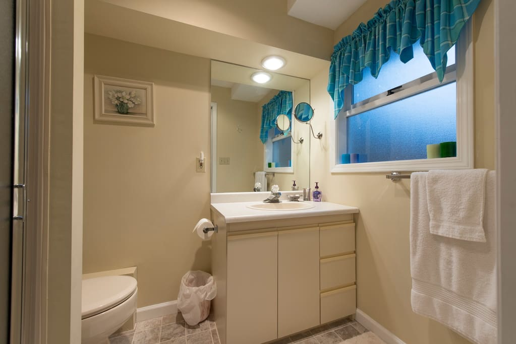 Private Bathroom with shower. Lots of towels, heat lamp, fan and window for ventilation.
