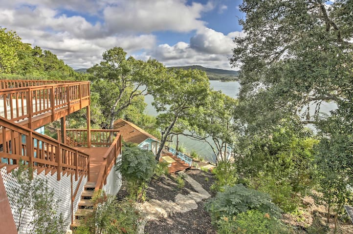 Waterfront Lakehills Home w/Pvt Dock & Guest House