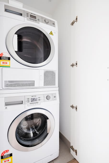 Washing machine and dryer in the apartment.