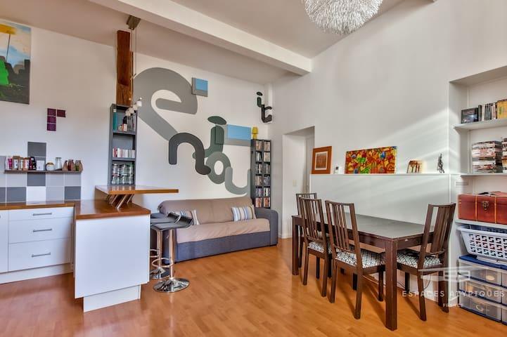 Grand studio( 53 m2 ) indépendant proche gare