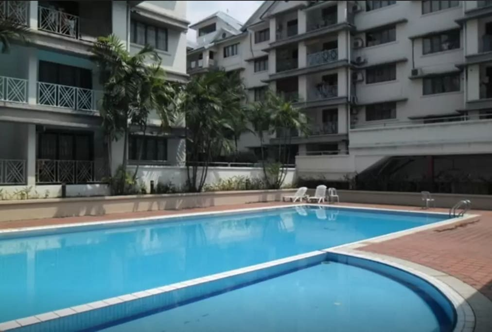 A well maintained pool open from 7 am to 10 pm.